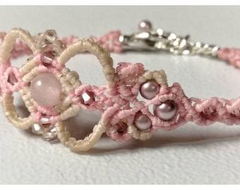 Swarovski Crystals, Swarovski Pearls and Rose Quartz Bracelet.