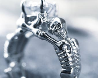 925 Sterling Silver Cubic Zirconia Skeleton Ring - boho grunge style jewellery