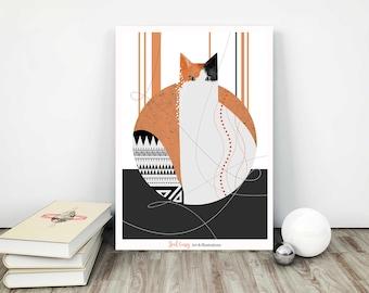 Lily Cat, Kitten, Art Print, Cat Art print, Pet Illustration, Animal Illustration, Baby Nursery Print, Animal Art, Calico Cat, Black Cat