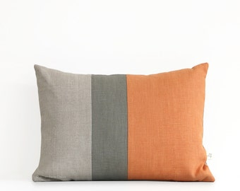 Decorative Pillows - Pumpkin Orange - Fall Colorblock Pillow Covers by JillianReneDecor - Modern Home Decor - Fall Autumn - FW2015