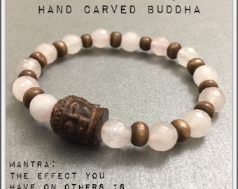 Yoga Bracelet ॐ LOVE: Rose Quartz | Buddha Mala | Healing Karma Love Stacks | Luxury Organic Jewelry for Men Women