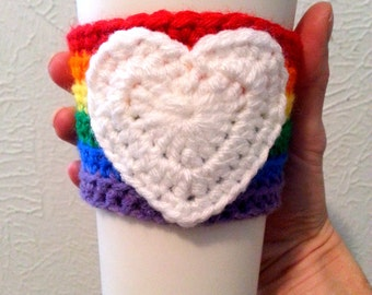 Rainbow Crochet Coffee Cup Sleeve with White Heart, Multicolor Cup Holder, Coffee Cozy, Rainbow Pride