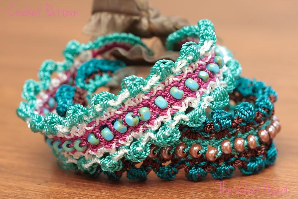 Crochet Jewelry Tutorial Beaded Bracelet Pattern Easy Diy