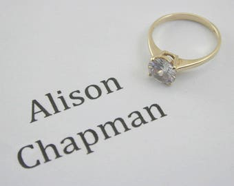 Cubic Zirconia ring size J 1.8g Looks like 1.50 carats