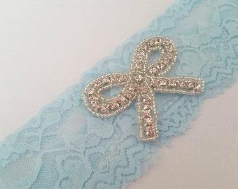 Liga novia algo azul, tramo Rhinstone encaje liguero, Liga del recuerdo, tirar la liga, Liga de novia azul