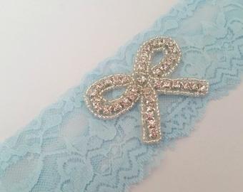 Something Blue Bridal Garter, Rhinstone Stretch Lace Garter, Keepsake Garter, Toss Garter, Blue Bridal Garter