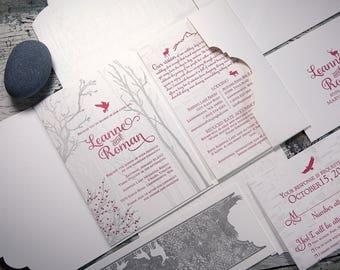 Winterwoods Letterpress Wedding Invitation Suite (SAMPLE)