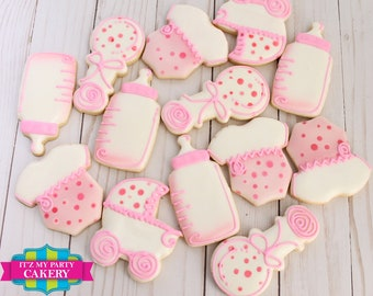 Polka dot Baby Shower Cookies - 1 Dozen