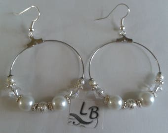 Hoop earrings white pearls and clear bicone beads