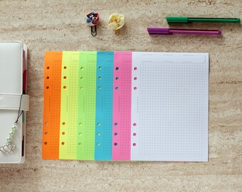 Neon planner refill, A5 paper inserts, planner inserts grid, rainbow paper planner