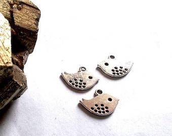 Set of 30 pendants, charms, bird, 16x13mm