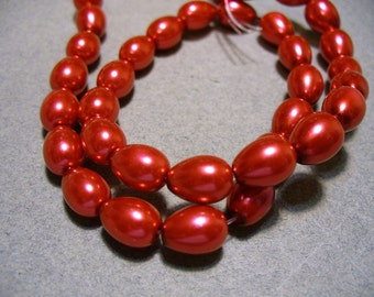 Glass Pearls Coral Red Teardrop 9x7MM