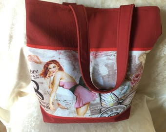 """Red imitation leather theme """"Pinup"""" tote bag"""