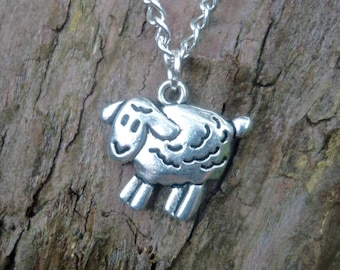 Sheep necklace, sheep charm on silver plated chain, easter gift, farm animal jewellery, shepherdess gift, gift for farmer