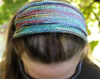 REGULAR Width Rainbow Hippie Headband, Knit Headband, Yoga Headband, Festival Hoods, Knitted Headband, Womens Headbands, Colorful Headband