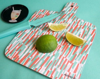 Bamboo Pattern Mini chopping board - Orange Grey Mint
