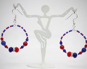 Blue, Red and White Baseball Team Color Hoop Earrings. Cleveland. Indians. Hypoallergenic Silver Plated Earring Hooks. Handmade Jewelry.