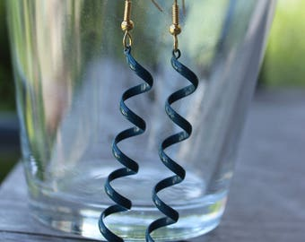 Teal swirl gold tone earrings