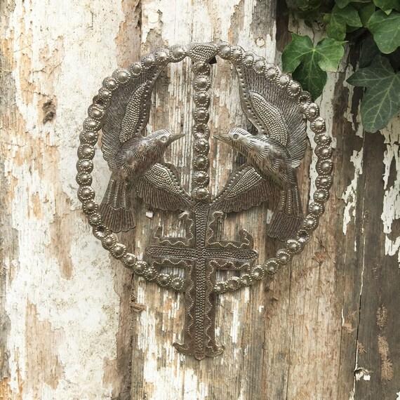 """Religious Home & Décor, Holy Rosary, Birds and Cross, Devotional Art, Handmade in Haiti 7.25"""" X 9"""""""