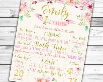 Pink and Gold First Birthday Poster, Pink and Gold First Birthday Board, Girl First Birthday Poster, Floral Birthday Poster, Birthday Board