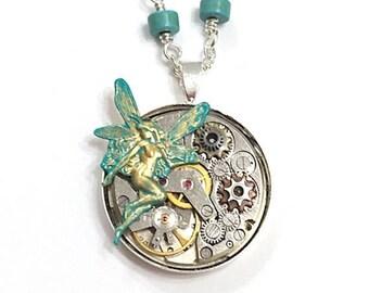 Steampunk Watch Gear Fairy Faerie Pendant Necklace, Watch Movement Necklace, Steampunk Jewelry