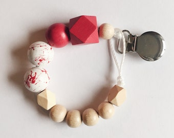 Handpainted pacifier holder - red marble