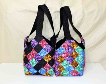Midi Quilt Patchwork Bag Purse Tote Fully Lined
