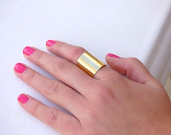 Shiny Gold Tube Ring, Tube Ring ,Gold Wide Band Ring, Adjustable ring ,Gold ring,Wide Band Ring, Gold Ring ,Matte gold tube ring ,Statement