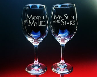 Game of Thrones Glass - Etched Glass - Moon and Stars Text - Wine Glasses - Etched - Personalized Glass