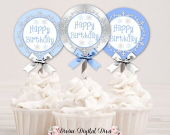 Winter Wonderland Happy Birthday Blue Silver Snowflake Wonderland | Cupcake Toppers Circles | Digital Instant Download