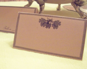 Oak Leaf Acorn Wedding Place Cards ,Escort Cards, 60 Blank Kraft or Cream Seating Cards, Woodland Forest, Oakleaf Tree Rehearsal Dinner