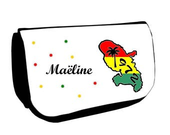 Black cosmetic case /crayons Martinique personalized with name