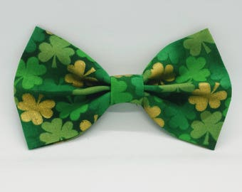 St. Patricks Day Dog Bows and Bow Ties; Shamrock Bow Tie for Puppy; Green Gold Dog Bow Tie; 4 Leaf Clover Bow Tie; Black Bow Tie for Dog