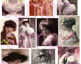 Printable Vintage Ladies French Postcards 1900s Art Deco Fashion Woman Hats Gowns Digital Collage Sheet Journal Mini Ablums Transfers