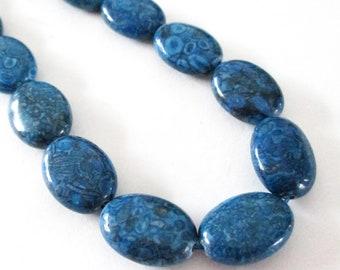 "Navy Blue Oval Beads - Smooth Oval Jasper Gemstone - Dark Matrix Snake Skin Mosaic Beads - 16"" Strand - 18mmx13mm - DIY Jewelry Making"