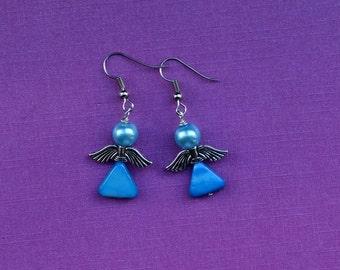 Blue Angel Earrings, Blue shell earrings, small blue earrings, light blue pearl earrings, small blue earrings, simple blue earrings, gift