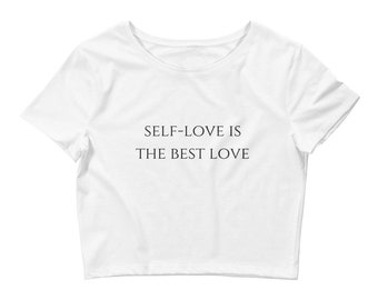 Self-love Best Love Women's White Crop Tee