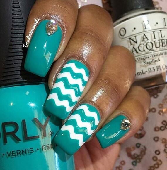 Líneas onduladas mini vinilo uña arte de uñas plantillas de ...