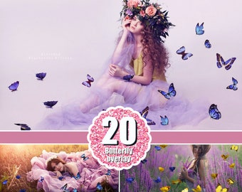 20 Color mix butterfly Photoshop Overlays, Photography Overlays, butterflies magic fairy fantasy summer spring nature real, png file