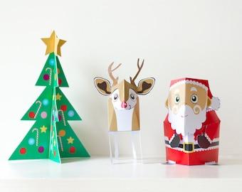 Christmas Papercraft / Christmas Decoration / Papercraft Kit / Christmas Gifts / Printable Kids GIft / Santa / Xmas / INSTANT DOWNLOAD