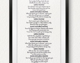 Humble and Kind/Tim McGraw/Country Song/Mother's Song/Gift for Child/Nursery Decoration/Dorm Decoration/Teen Room Decor