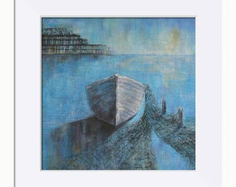 Quiet Mooring Coastal Picture - Limited Edition Fine Art Print, Original Artwork by Tracey Zorek