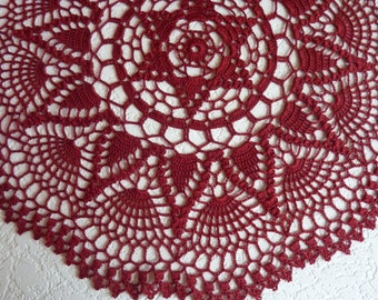 crochet doily,red doily,rugs,burgundy,crochet tablecloth,red lace doily,red table centerpie,lace table cloth,dark red doily,beautiful doily