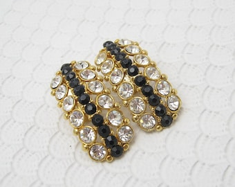 Vintage Rhinestone Earrings Long Black Jewelry