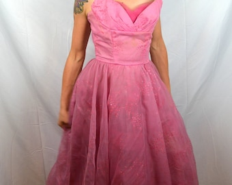 Lovely Vintage 1950s 50s Sweetheart Pink Prom Crinoline Poof Formal Party Dress - Lorrie Deb