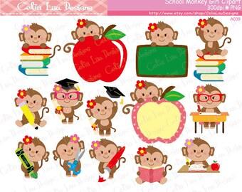 School Monkey Girl Clipart, Cute Back to School Monkey Girl Clipart