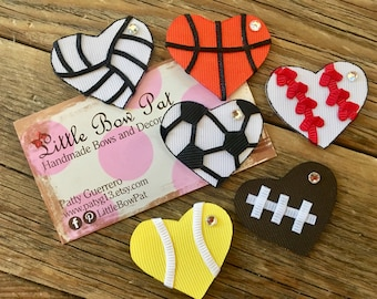 I Heart Sports... Back To School Ribbon Sculpture Hairbows Your Choice of 1 Heart