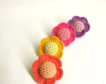 Crocheted beads - flowers, 20 mm handmade round balls cotton on wood, colorful mix