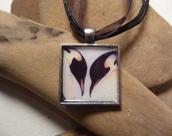Penguin Couple Necklace with Watercolor Art Print in a square pendant