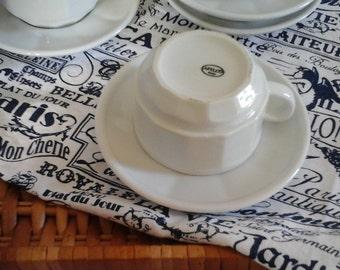 Vintage French 2 Cups & Saucers Apilco Porcelain Bistro White ..Coffee Cups...French Café...French Brasserie...Salon de thé...Apilco